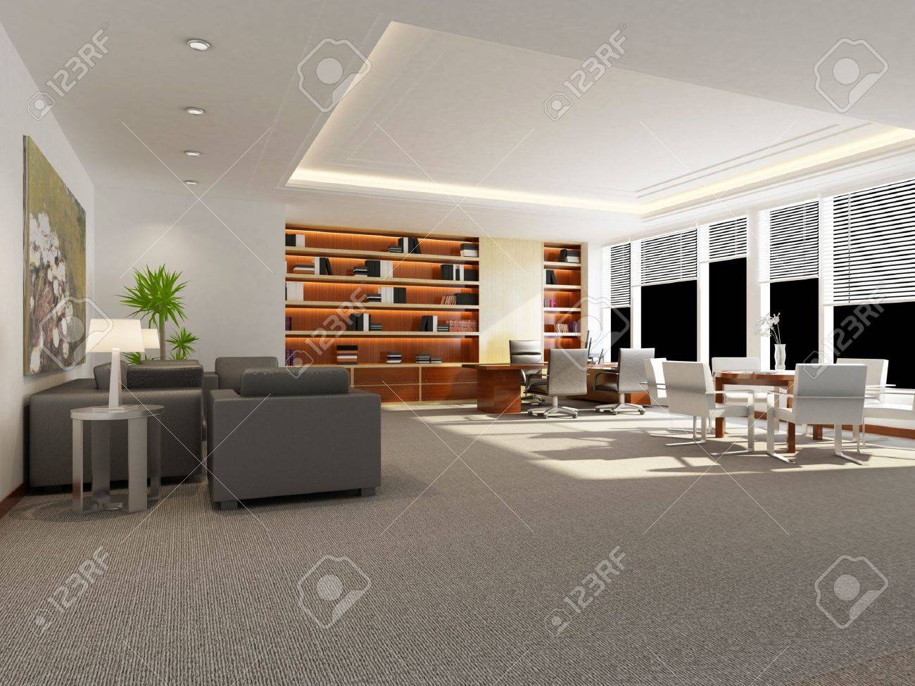 modern office interior 3d rendering Stock Photo - 9821256 & Modern Office Interior 3d Rendering Stock Photo Picture And Royalty ...