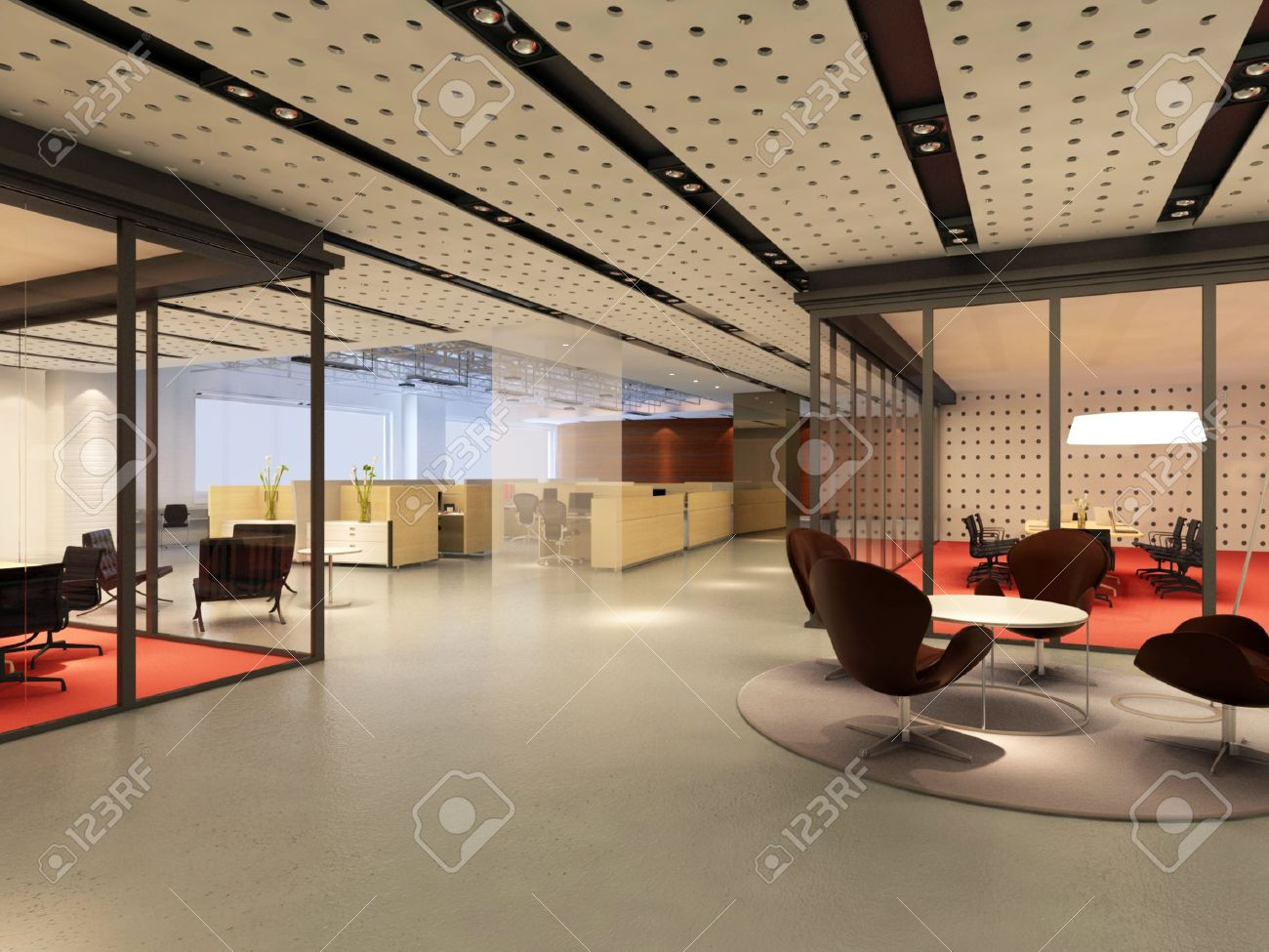 Beautiful Modern Office Interior 3d Rendering Stock Photo   9821269