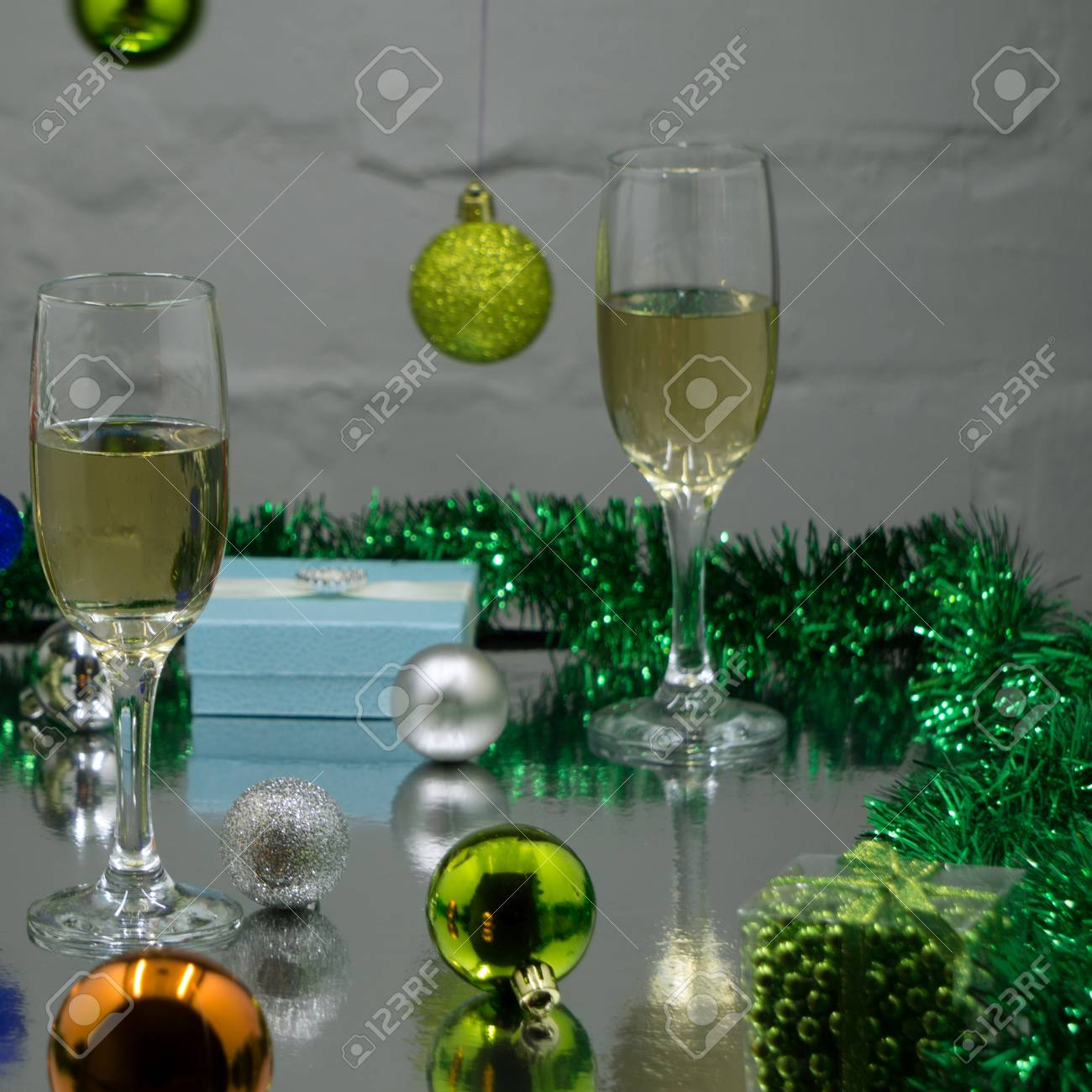 champagne composition christmas or new year background stock photo 90365519