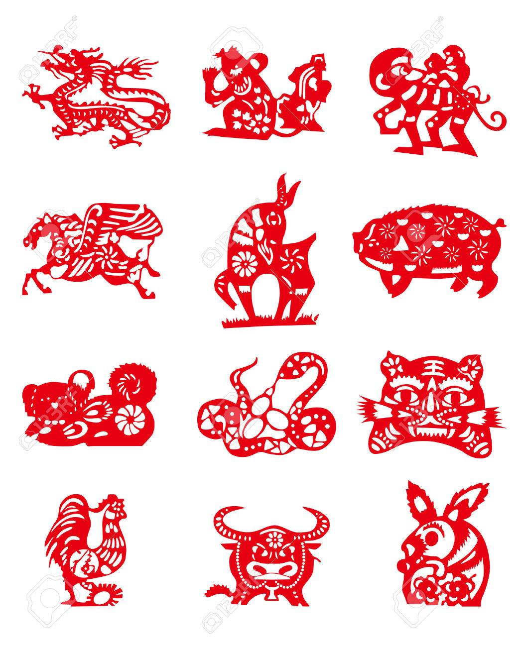 Animals Of Chinese Calendar Royalty Free Cliparts, Vectors, And ...