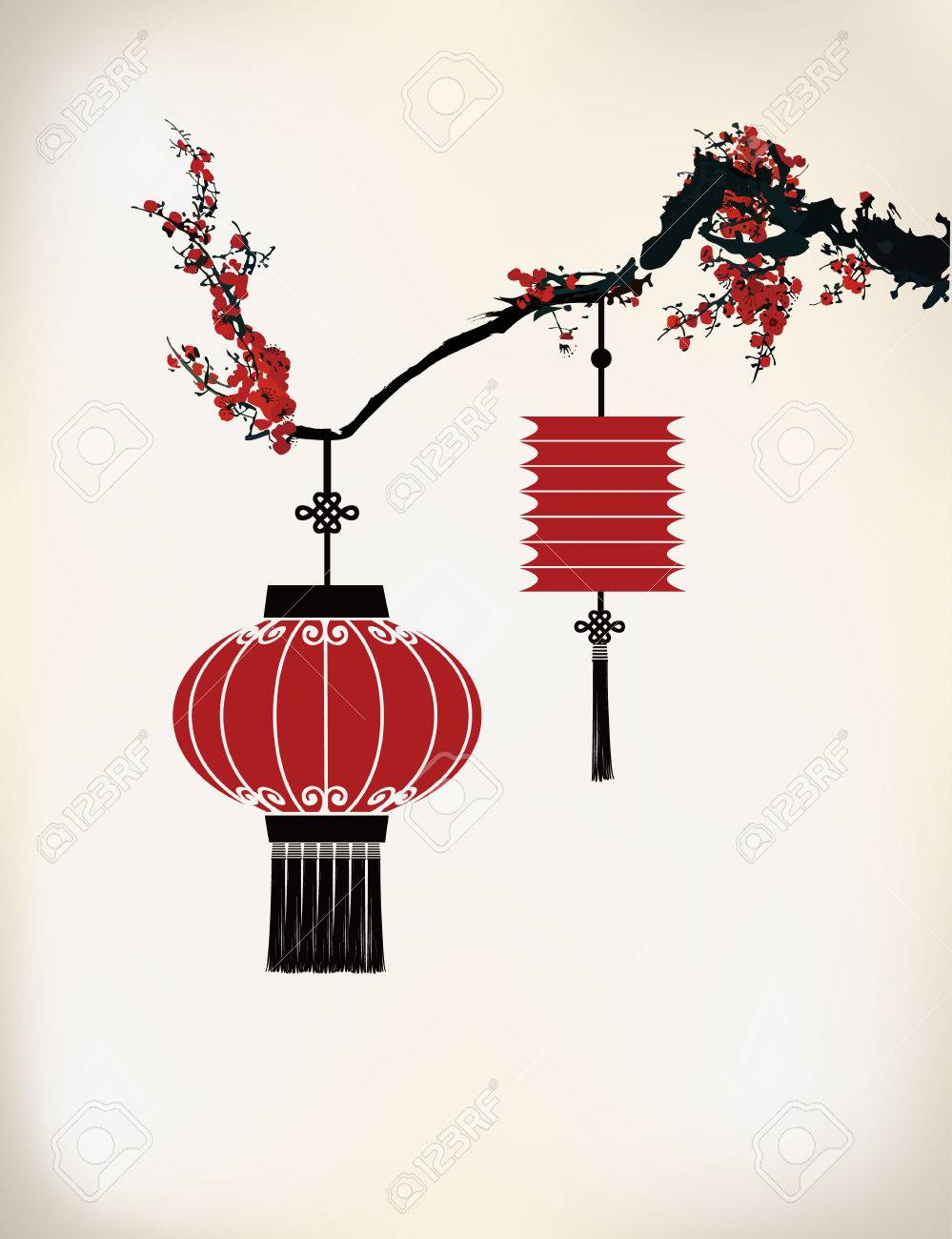 Chinese Lantern Hang On Cherry Tree Illustration