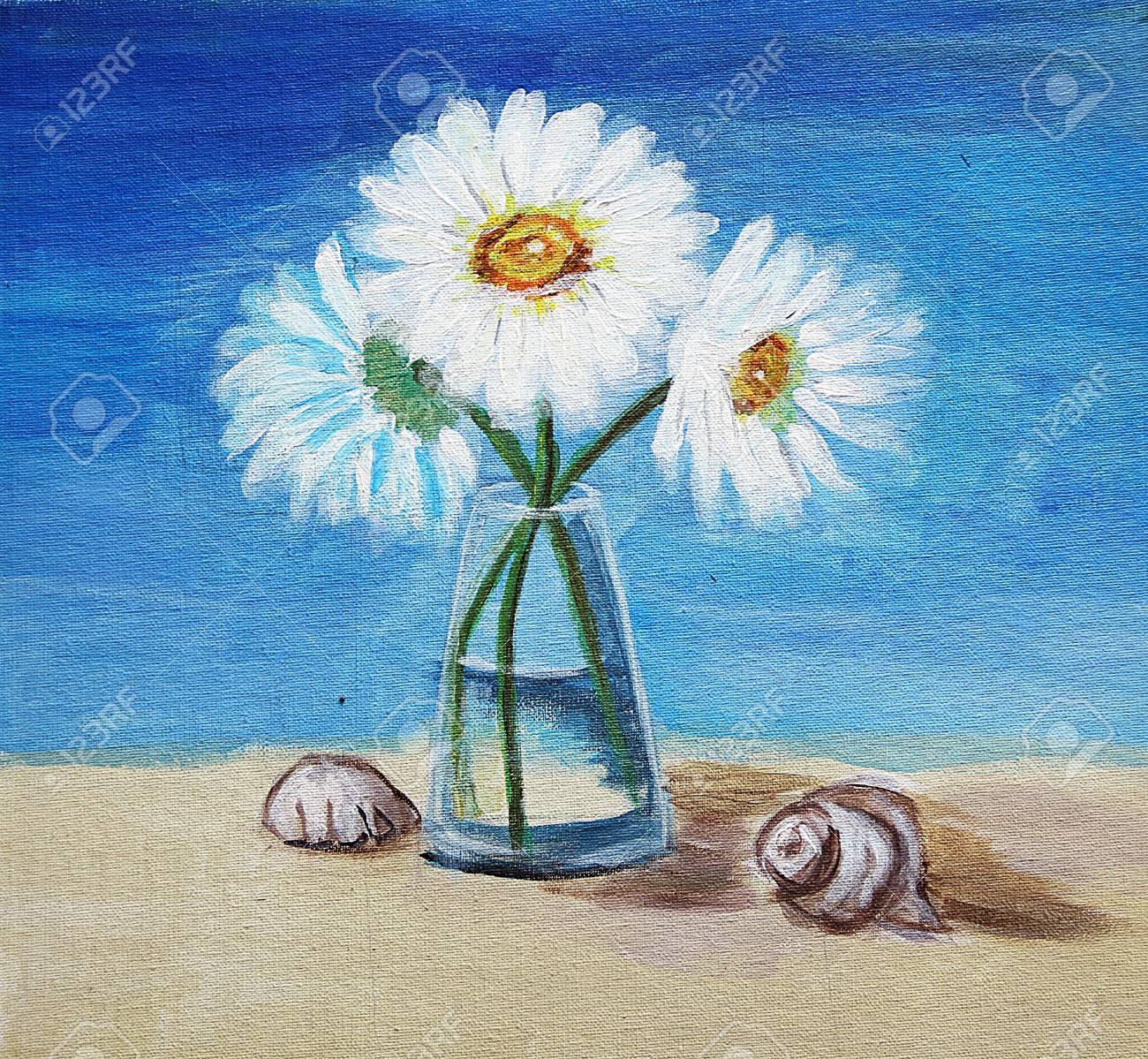 Peinture à L'huile De Plage De Verre De Fleurs
