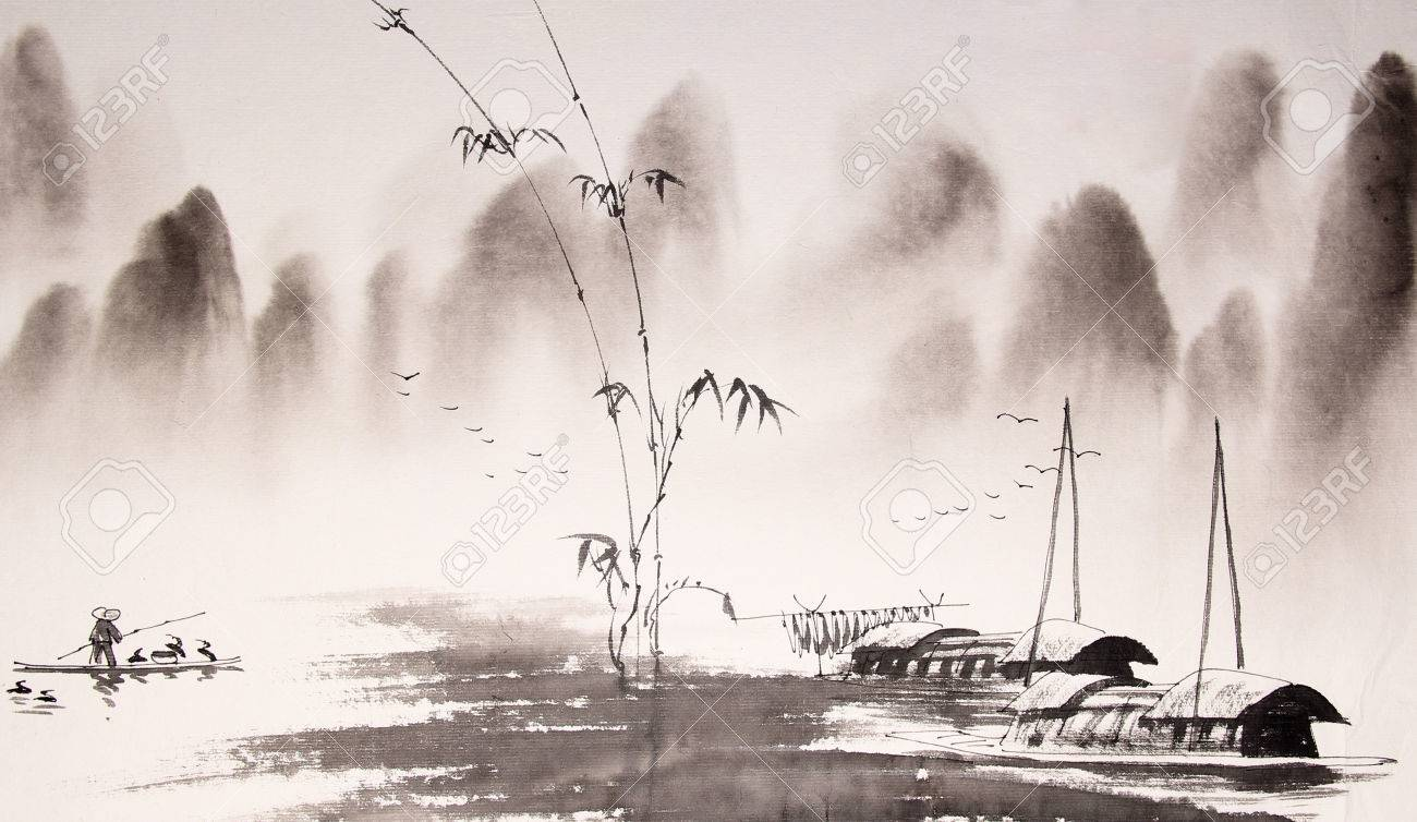 Chinese landscape ink painting - 55665124