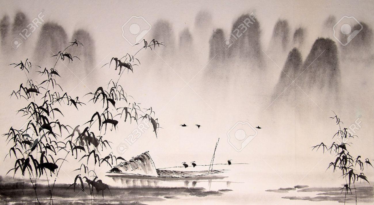 中国水墨画を風景します。 ロイ...