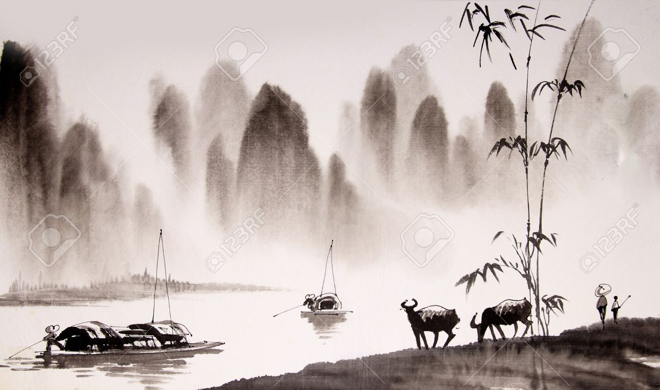 090279d92 Chinese Landscape Ink Painting Stock Photo, Picture And Royalty Free ...