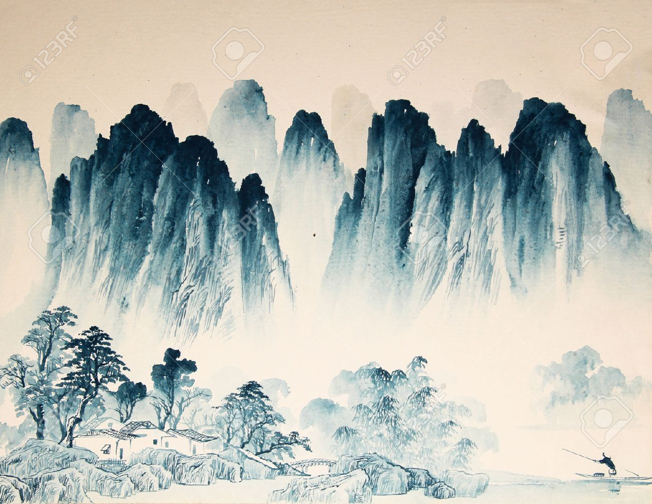 Chinese landscape watercolor painting - 55873666
