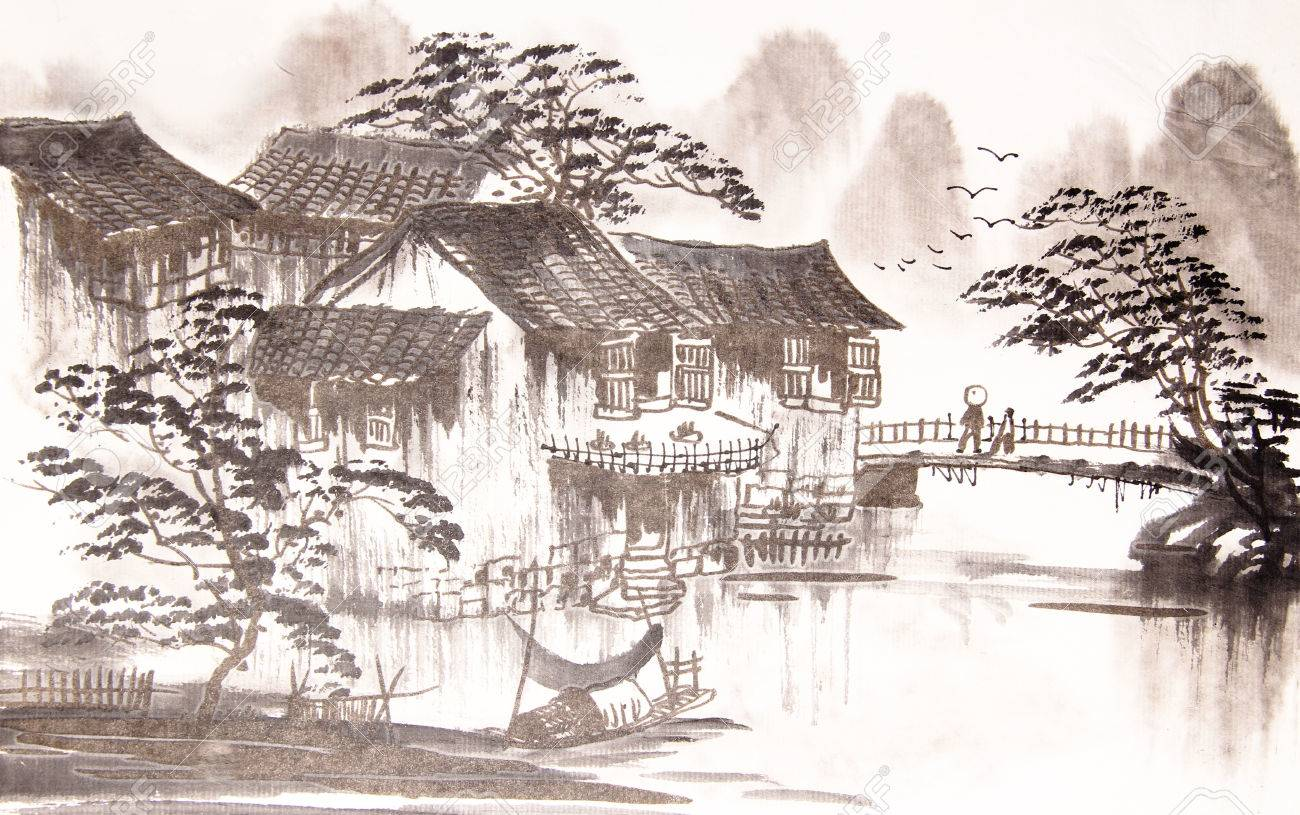 Chinese Drawing Water Town Stock Photo Picture And Royalty Free