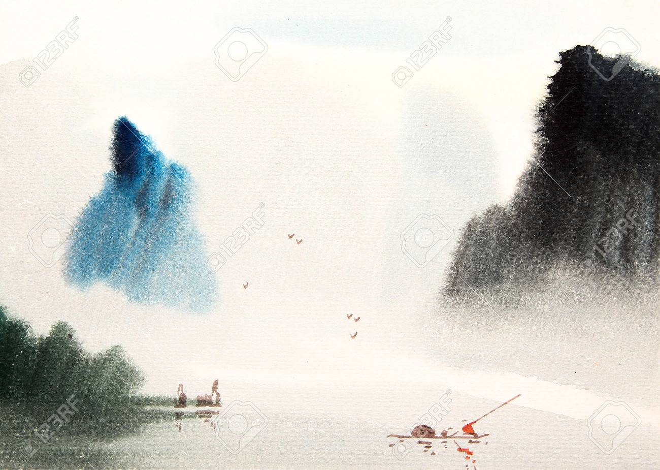 Chinese Landscape Watercolor Painting Stock Photo