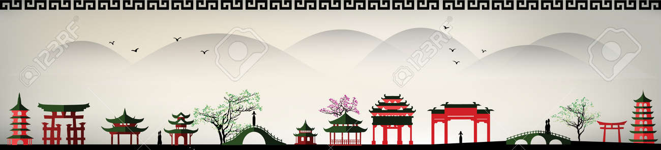 vector landscape of an asia city - 155913178