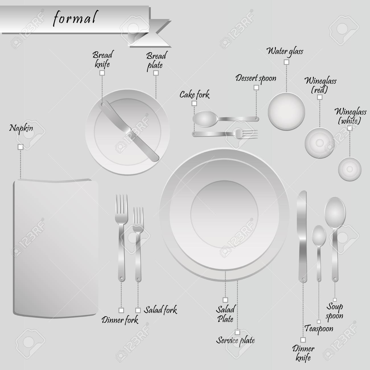 Formal table setting with labels vector illustration Stock Vector - 98713362  sc 1 st  123RF.com & Formal Table Setting With Labels Vector Illustration Royalty Free ...