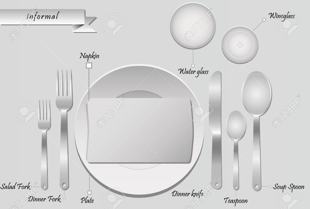 Informal Table Setting With Labels Vector Illustration Stock Vector    98713363