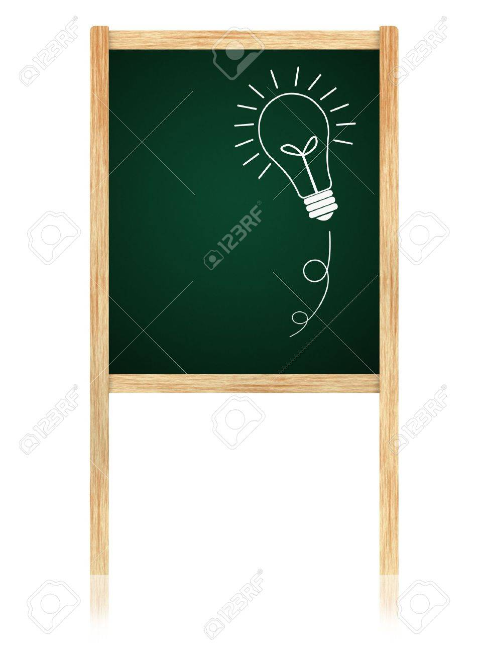 bulb idea on Greenboard with wooden frame isolate on white background. Stock Photo - 11006117