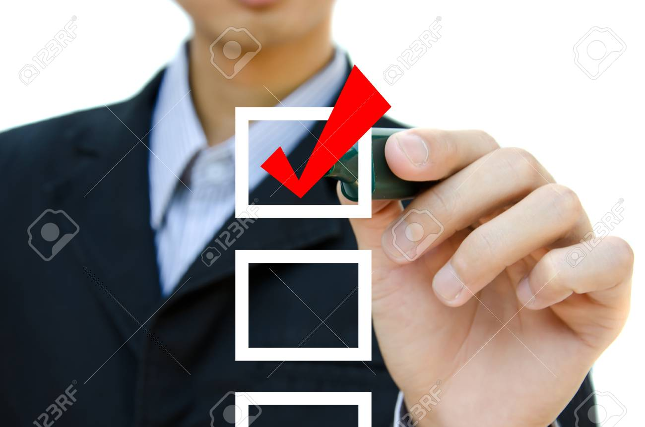 Business hand choosing mark the check boxes of many options. Stock Photo - 11109599