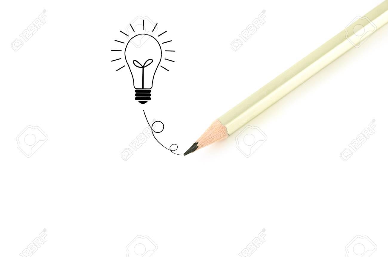 Pencil  writingฺ bulb idea isolated on white background. Stock Photo - 11269538