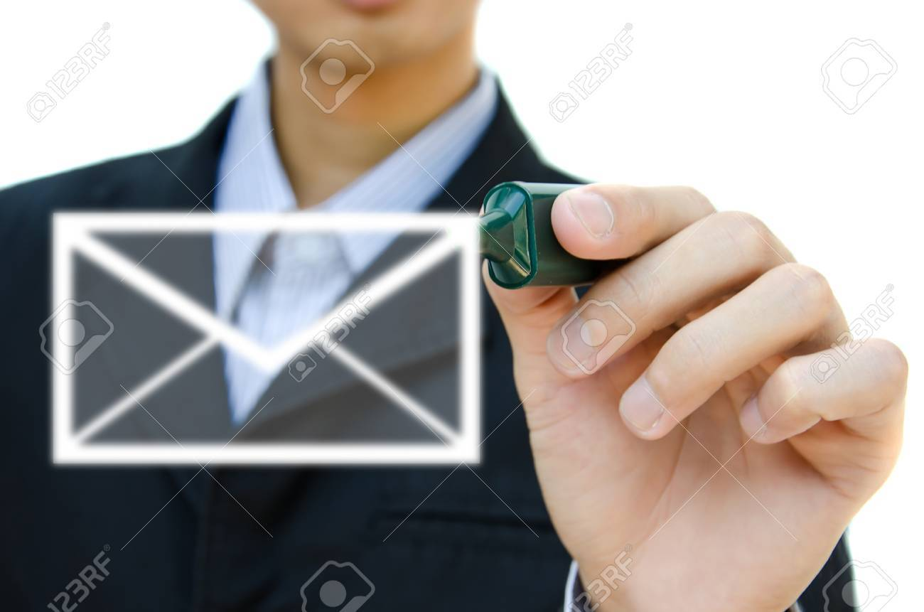 hand drawing email in a whiteboard. Stock Photo - 12695907
