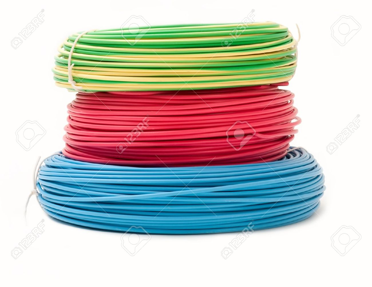 Green, Red And Blue Wire Bundles Isolated On White Stock Photo ...