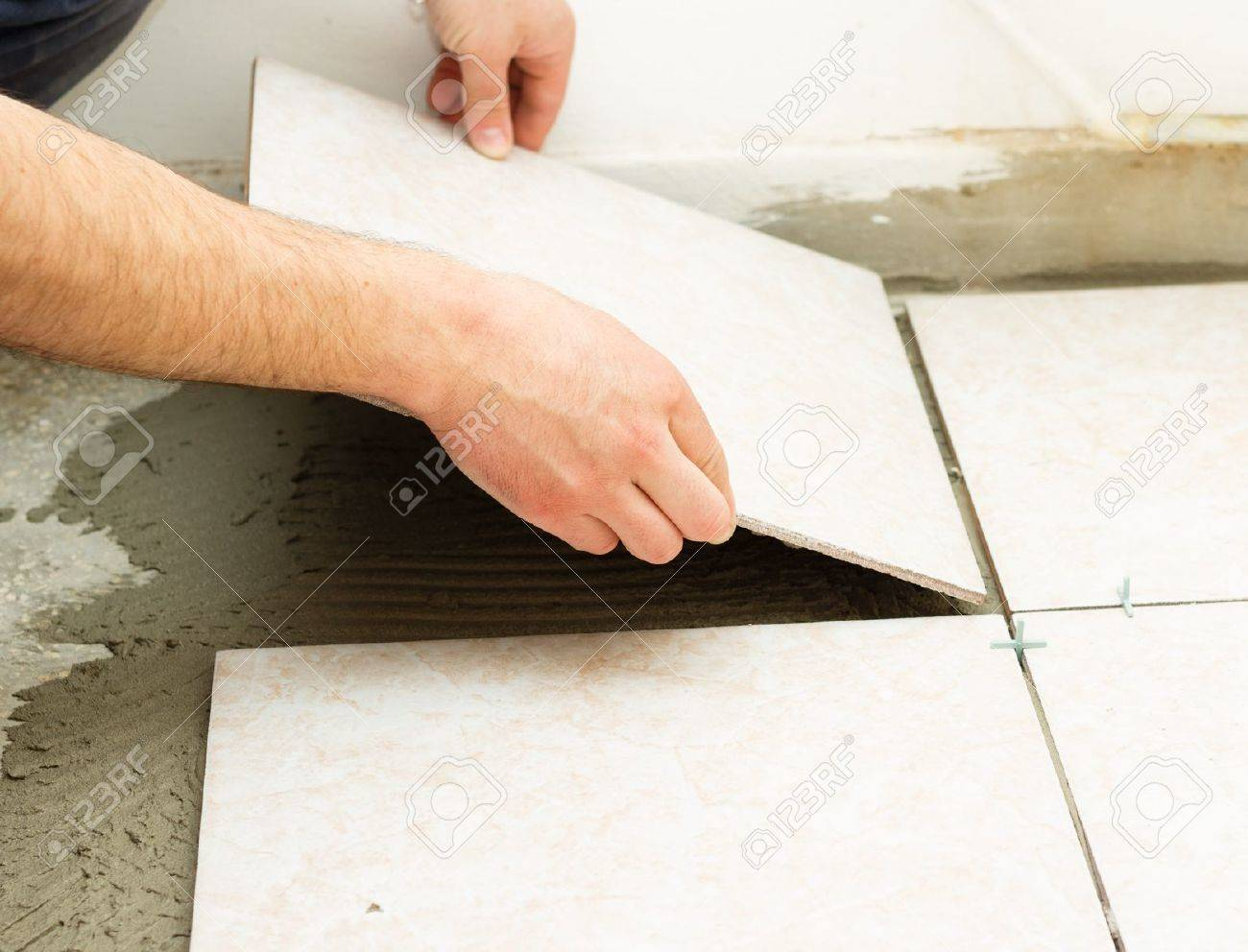 Manual Worker Covering Bathroom Floor With Caremic Tiles Stock Photo 28426261