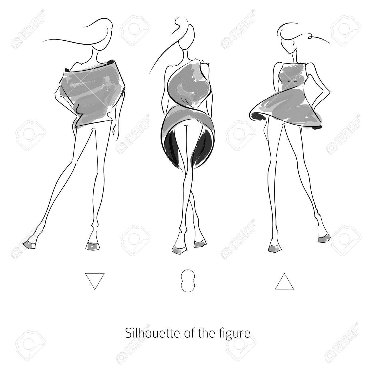 Vector fashion model  Sketch silhouette figure  Hand draw model