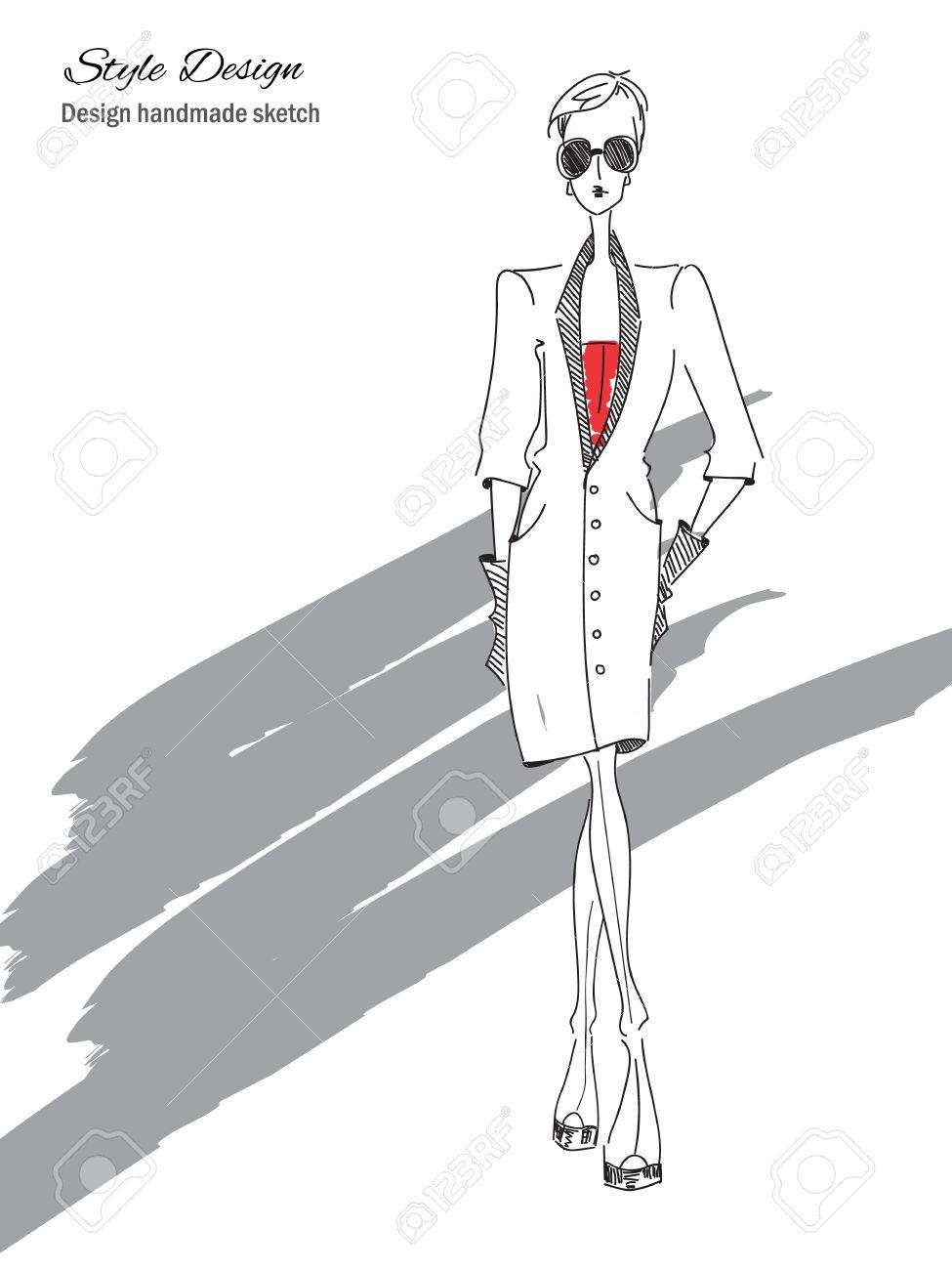 Vector fashion model vector sketch silhouette vector vintage lady dress pencil sketch