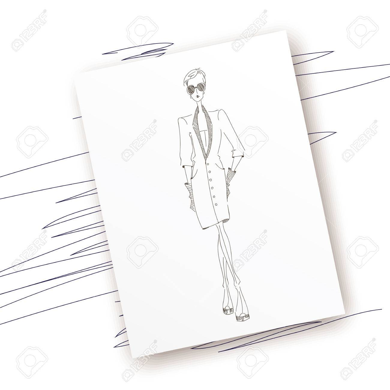 Dress pencil sketch fashion outline style lady