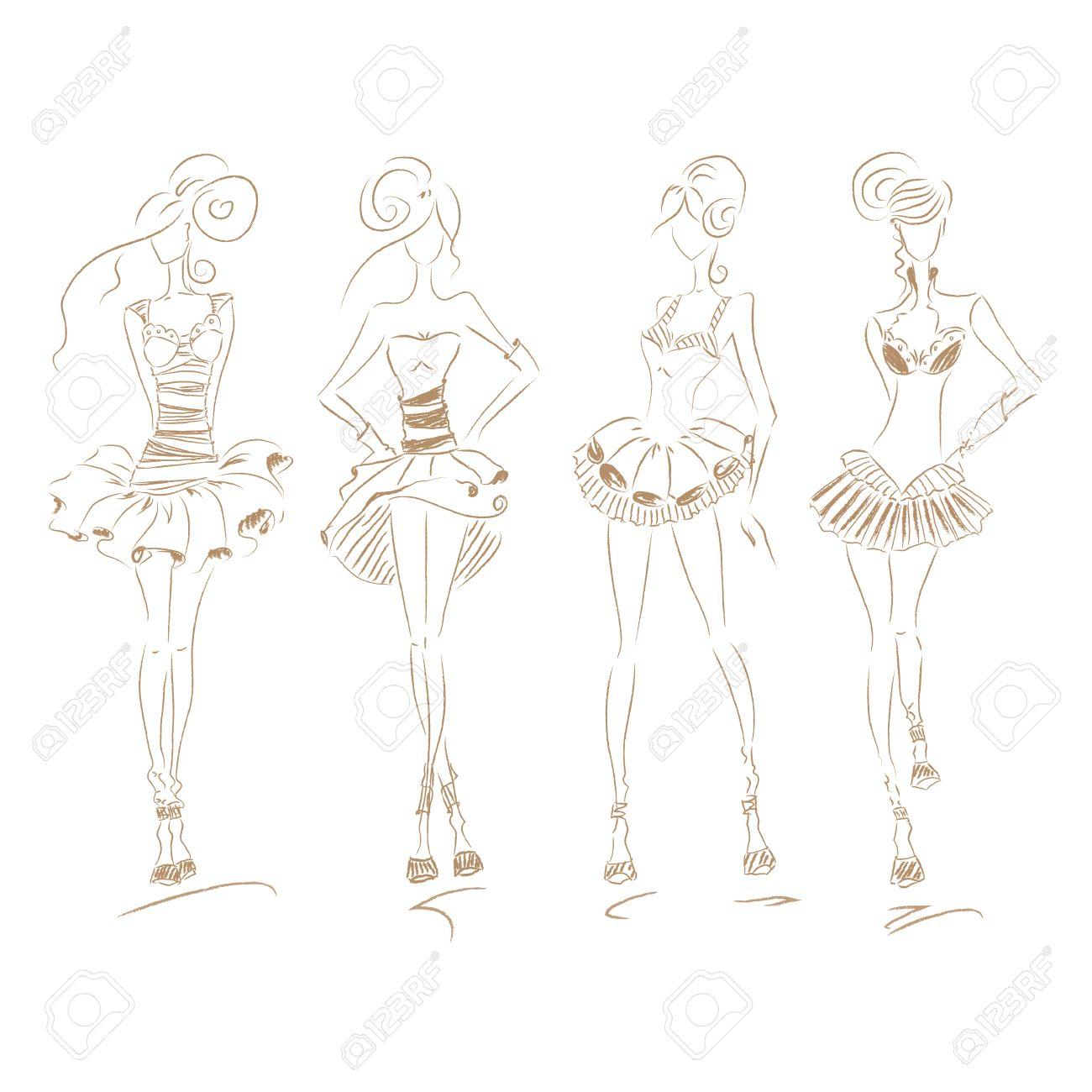 Vector fashion model set vector sketch silhouette vector vintage lady dress pencil sketch