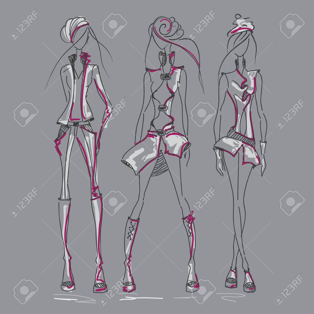 Vector sketch silhouette women vector collection of clothing dress pencil sketch vector fashion outline design of clothing