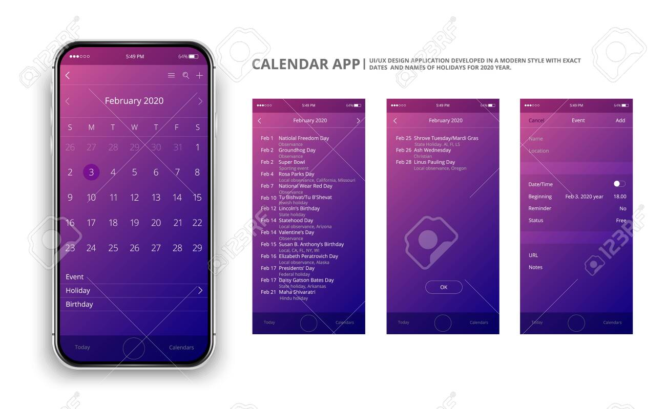 User Interface Design Mobile Calendar App Phone App Calendar Royalty Free Cliparts Vectors And Stock Illustration Image 132811000