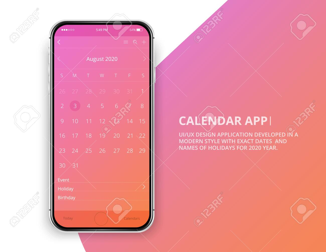 User Interface Design Mobile Calendar App Phone App Calendar Royalty Free Cliparts Vectors And Stock Illustration Image 132811020