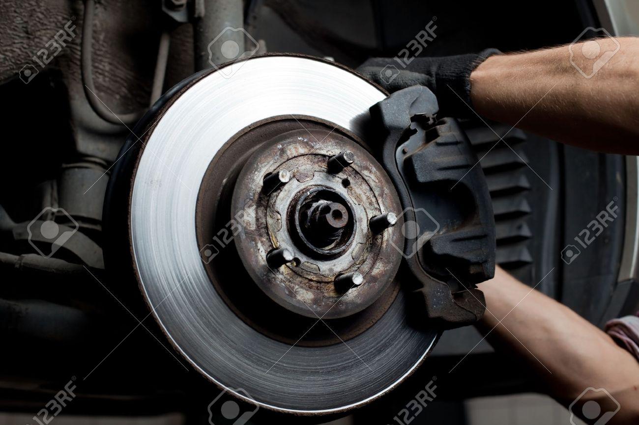 Car Brake Pads >> Closeup Of Car Mechanic Repairing Brake Pads