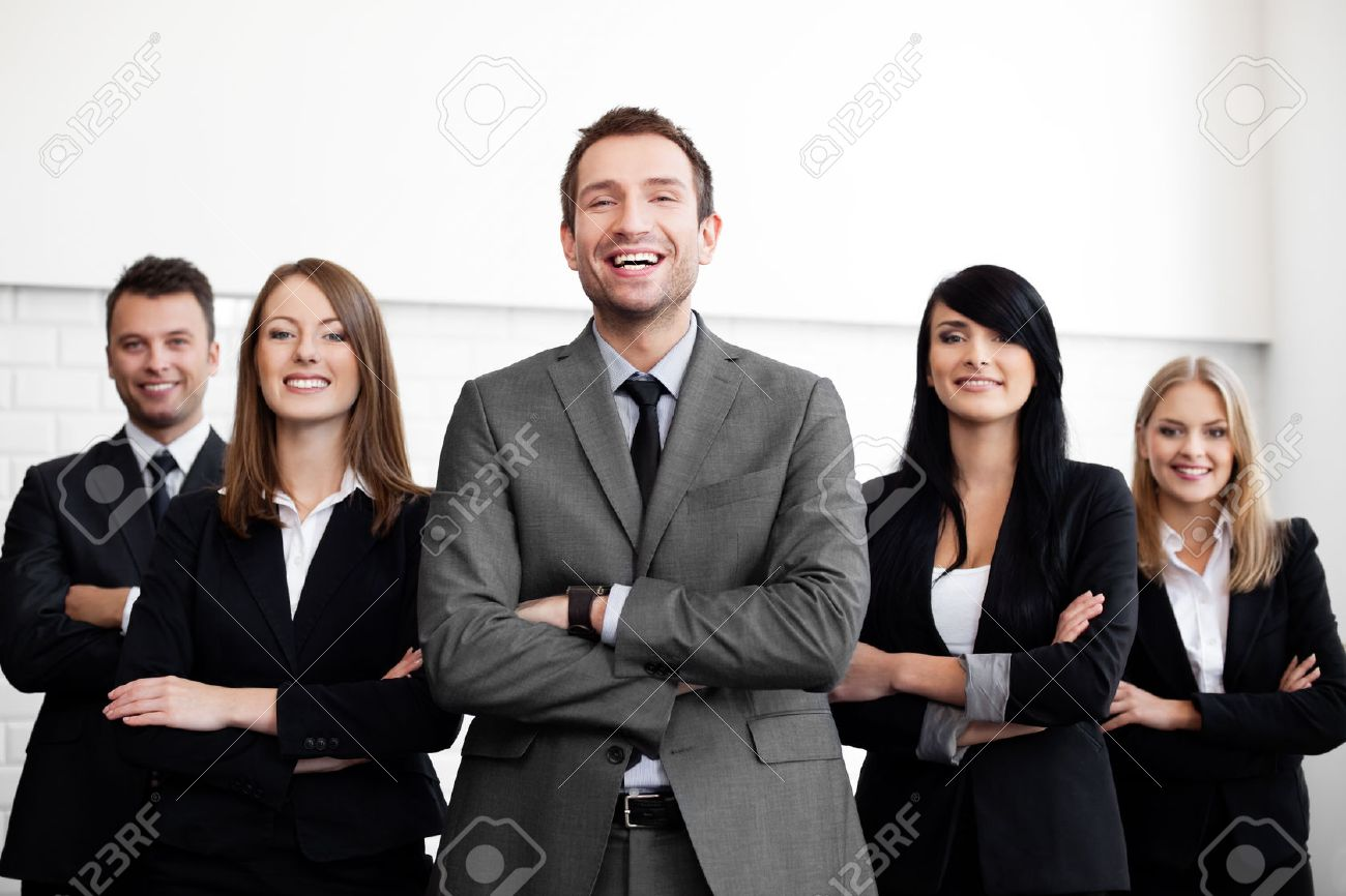 Group of business people with businessman leader on foreground Standard-Bild - 53952262