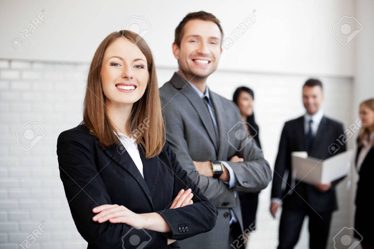 Group of business people  with female leader in foreground Standard-Bild - 53952314