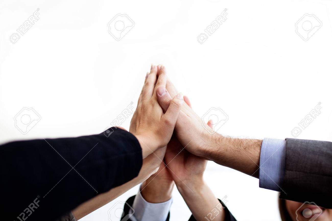 Business people joining hands together isolated. Standard-Bild - 53952497