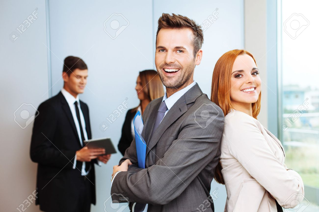 Group of successful business people with leaders in foreground Standard-Bild - 53953713