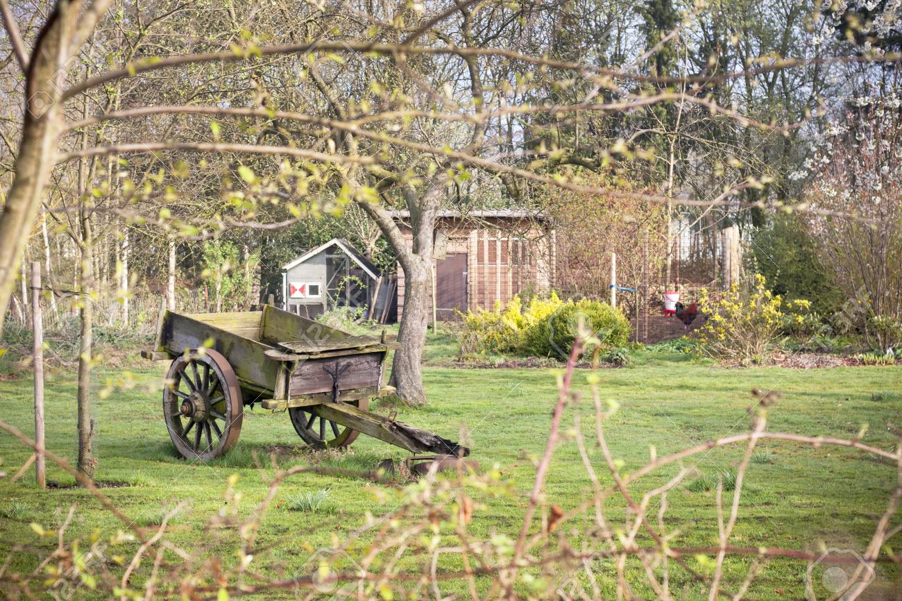 Vintage Dray On Autumn Farm Old Fashioned Cart In Garden Garden Stock Photo Picture And Royalty Free Image Image 84316141