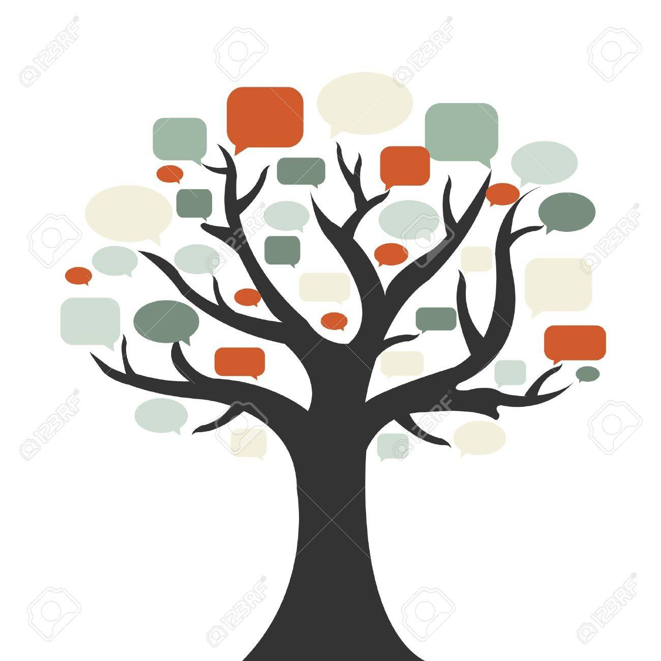 Tree With Speech Bubble, Isolated On White Background, Vector Illustration Stock Vector - 9283636