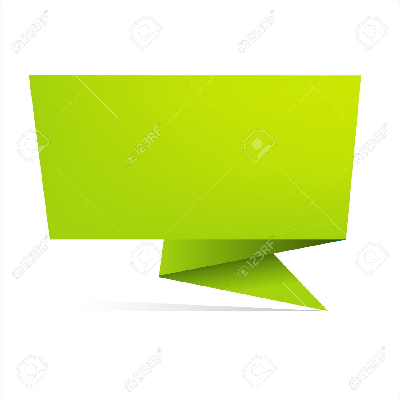 Green Origami Paper Banner, Isolated On White Background, Vector ...