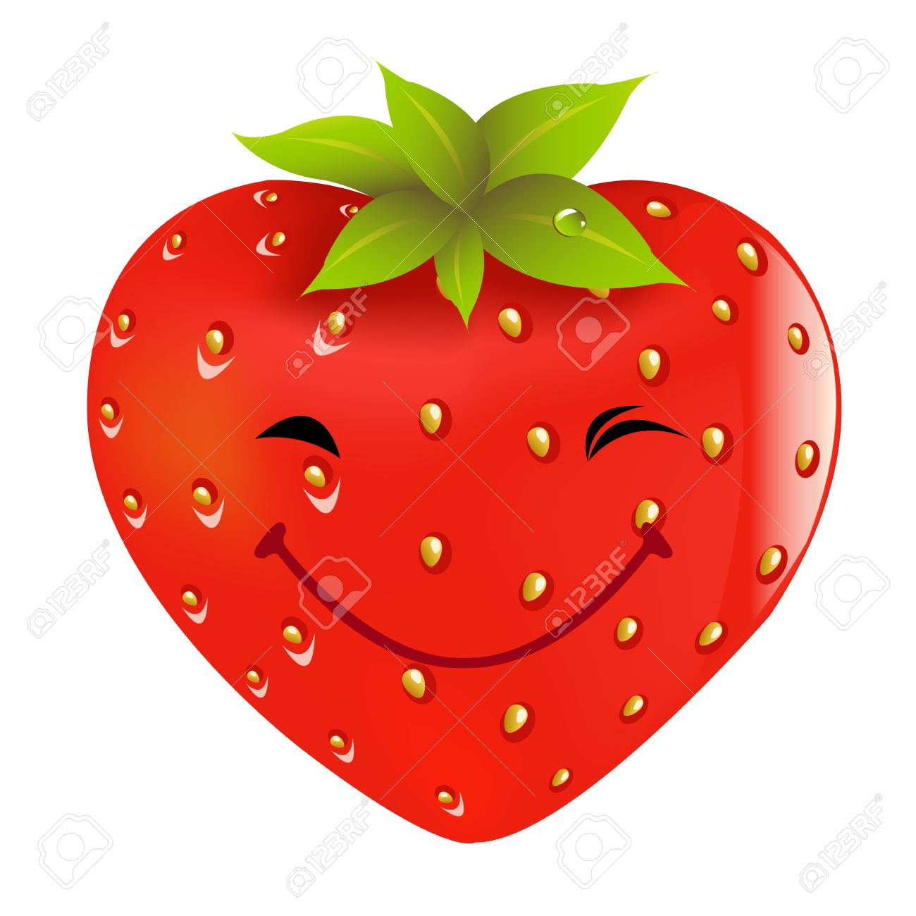 Cartoon Strawberry, Isolated On White Background, Vector Illustration Stock Vector - 9616101