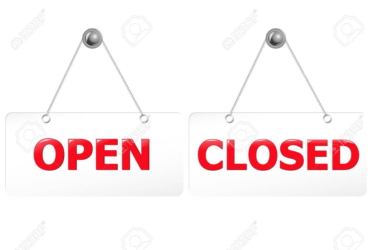 2 Glossy Open And Closed Door Signs Board Stock Vector - 9660881