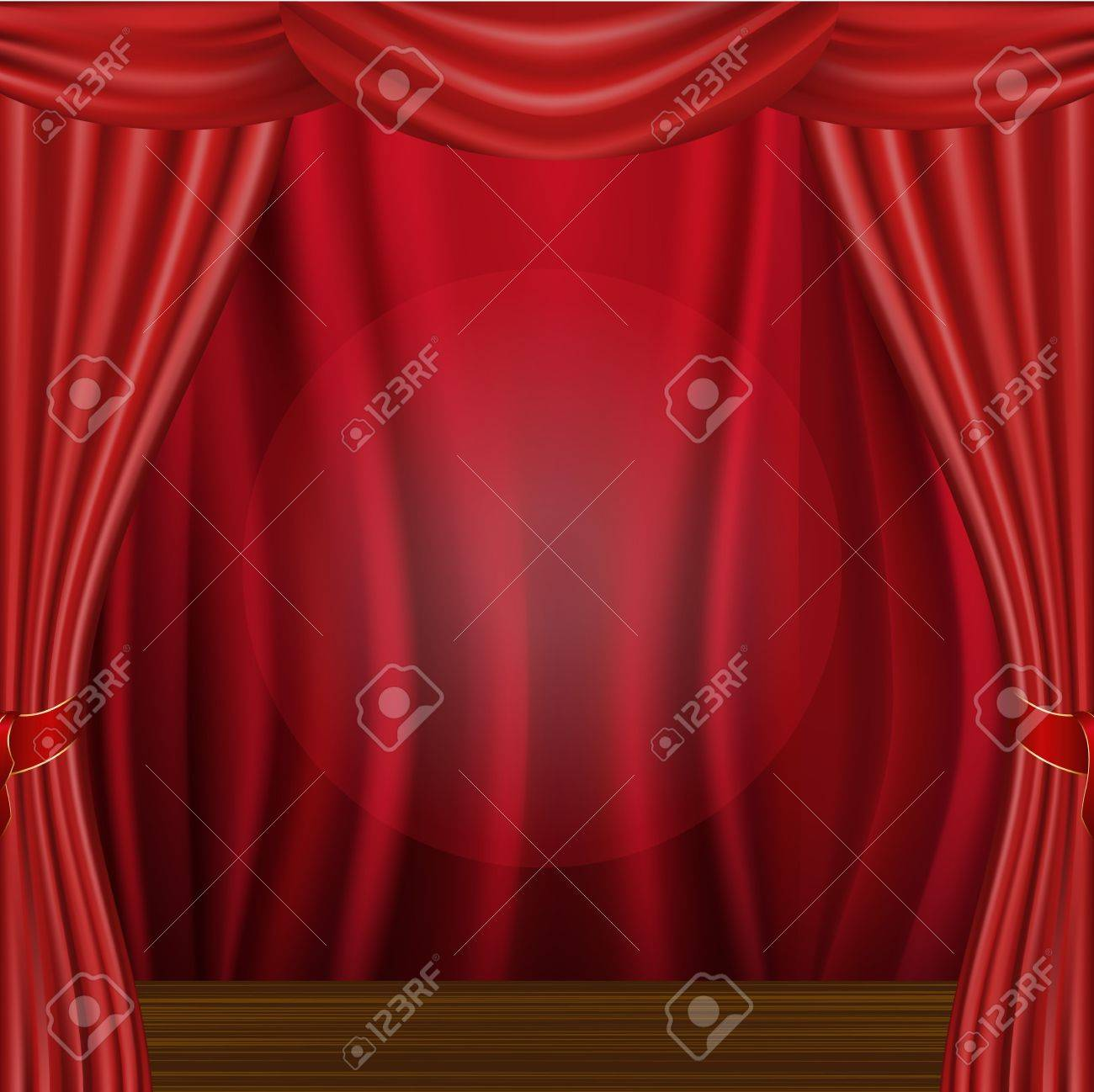Wood Scene And Curtain Stock Vector - 10135946
