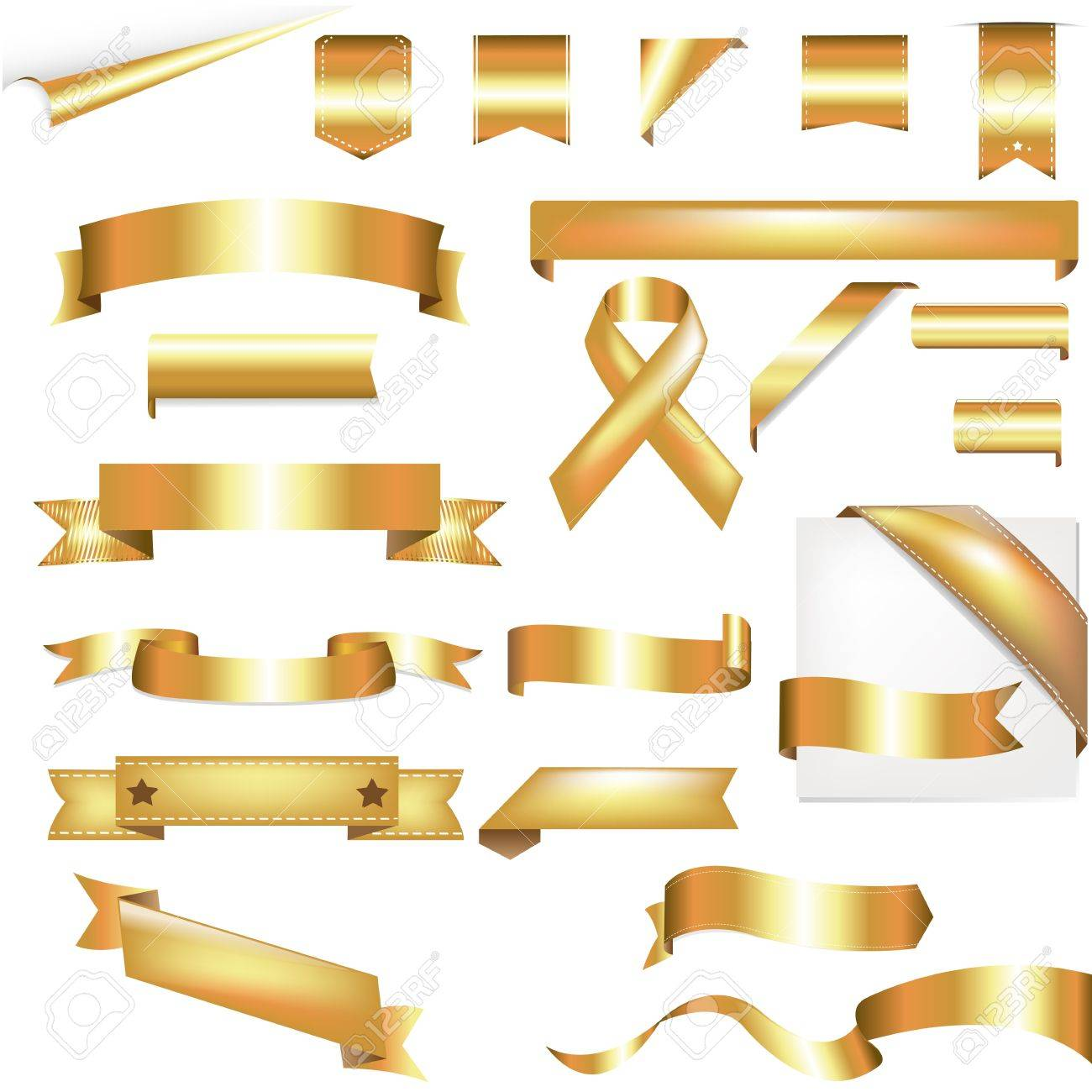 Gold Set, Isolated On White Background, Vector Illustration Stock Vector - 10784852