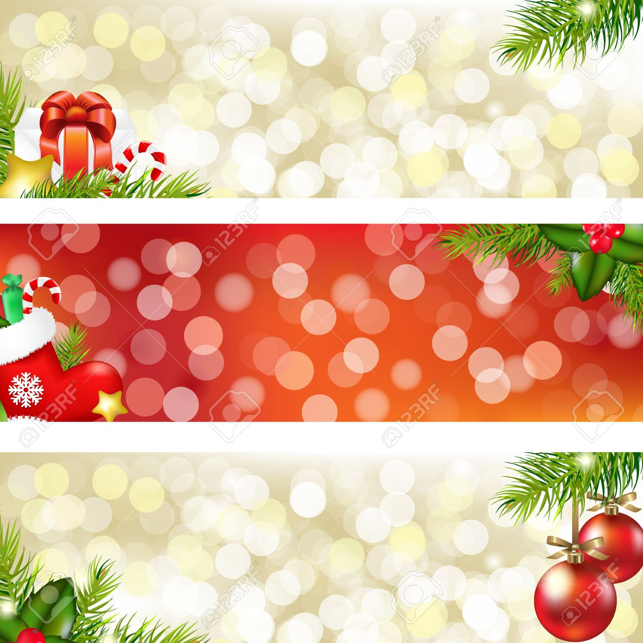 Christmas Banners Part - 18: 3 Christmas Banners, Vector Illustration Stock Vector - 11476591