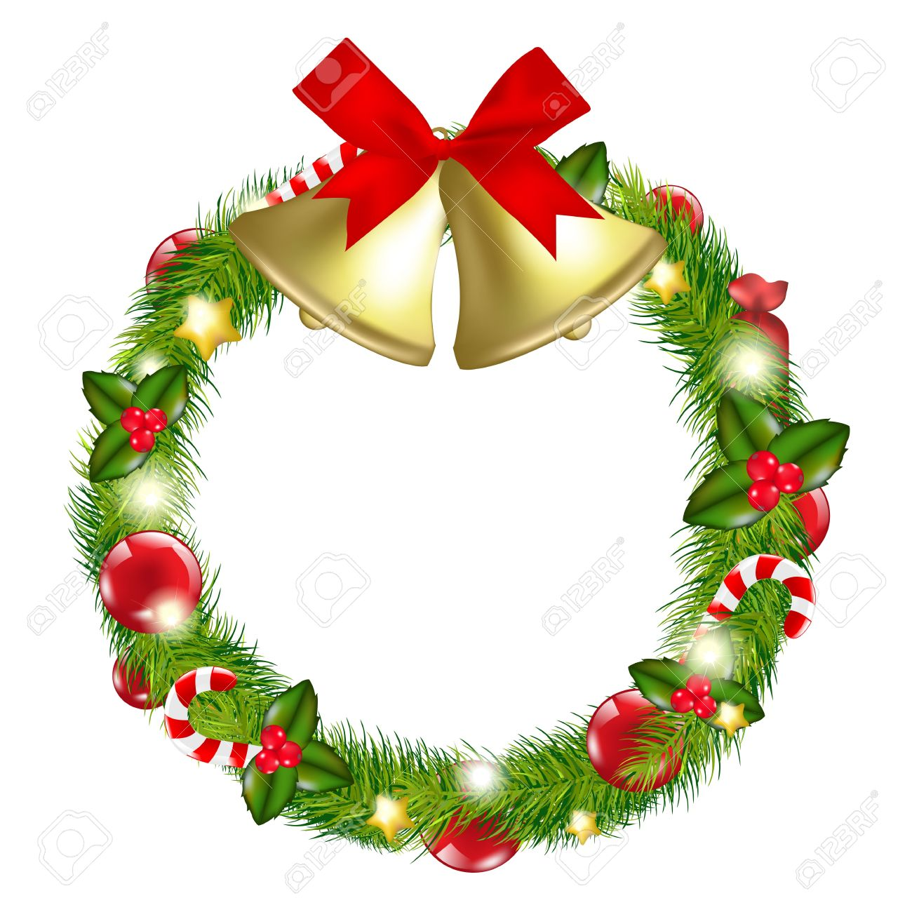 Merry Christmas Wreath With Bells, Isolated On White Background ...