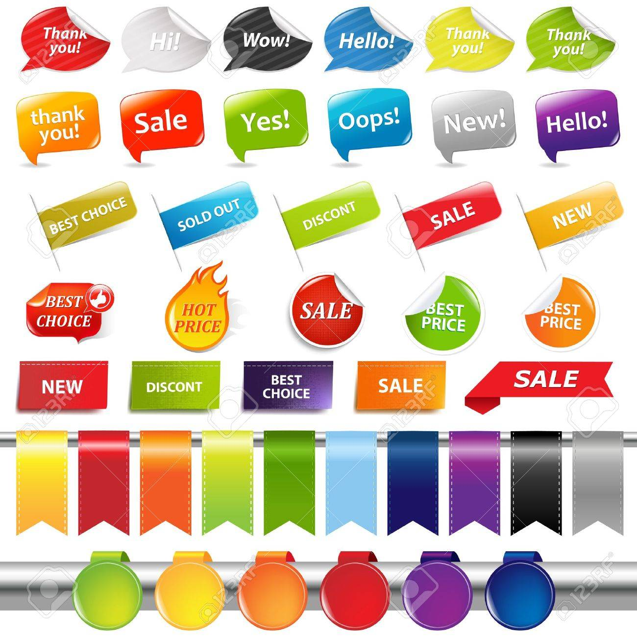 Set Of Colorful Sale Stickers And Labels, Isolated On White Background, Vector Illustration Stock Vector - 12336045