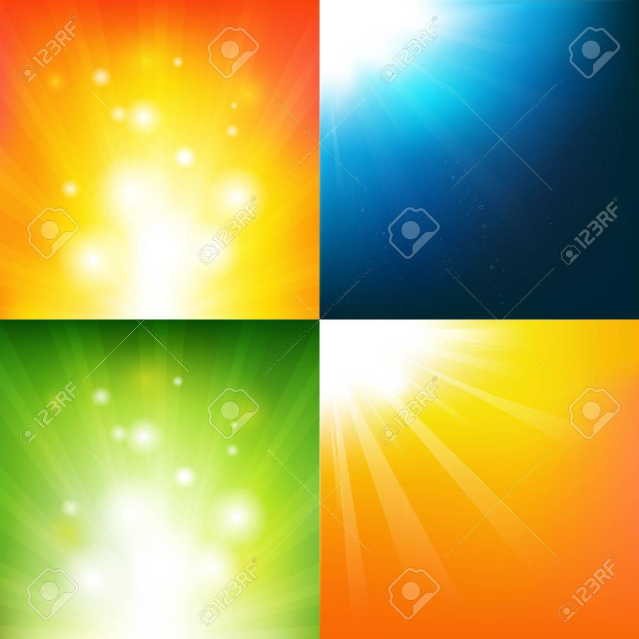 4 Underwater And Sunburst Backgrounds, Vector Background Stock Vector - 12491342