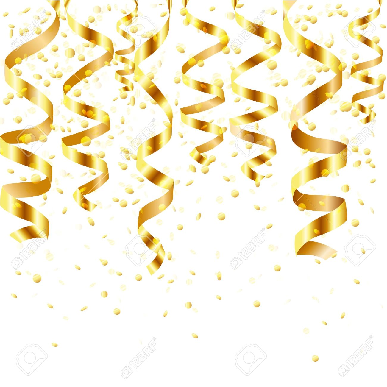 Gold Curling Stream, Isolated On White Background, Vector Illustration Stock Vector - 12491317
