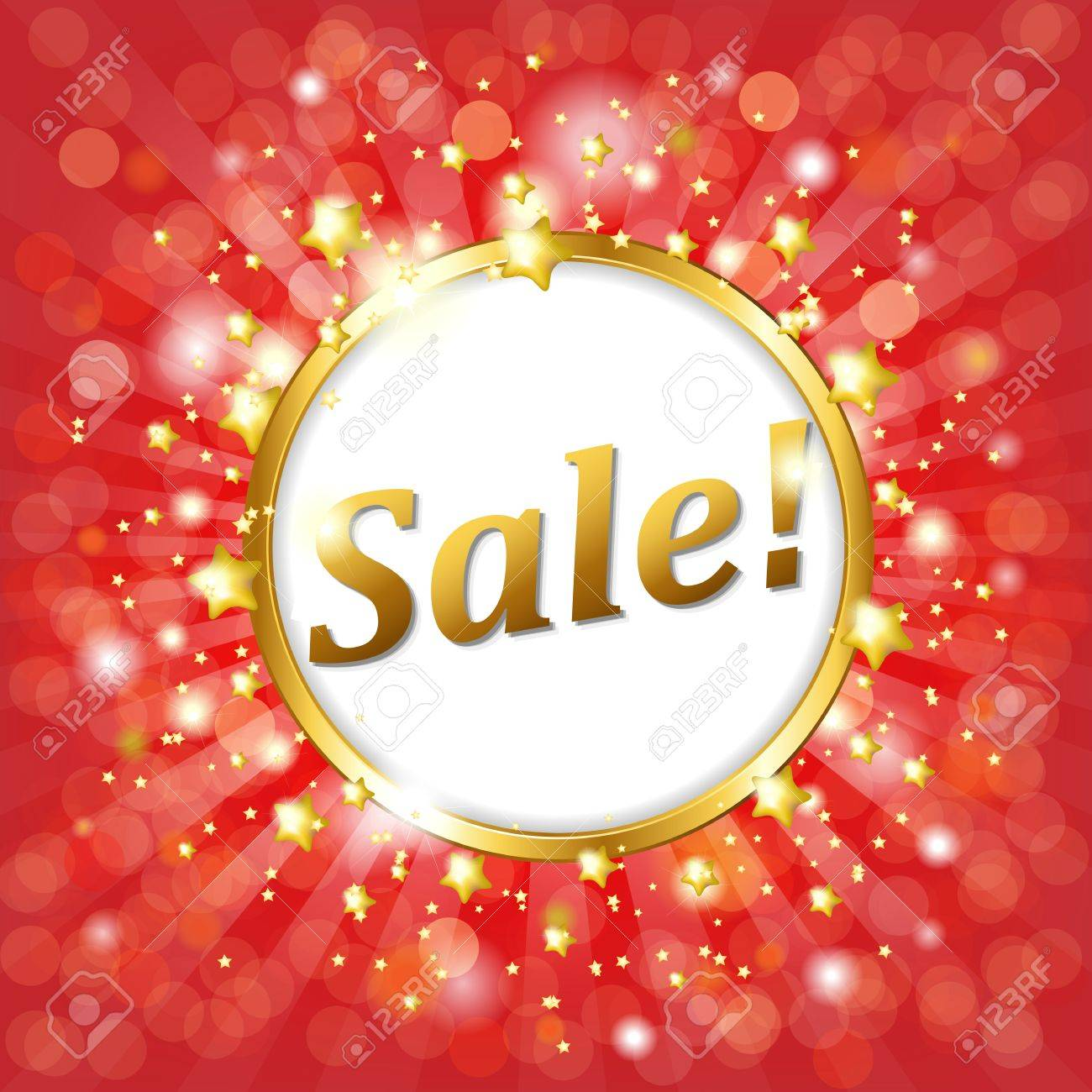Red Sale Poster With Bokeh And Star, Vector Illustration Stock Vector - 13100868