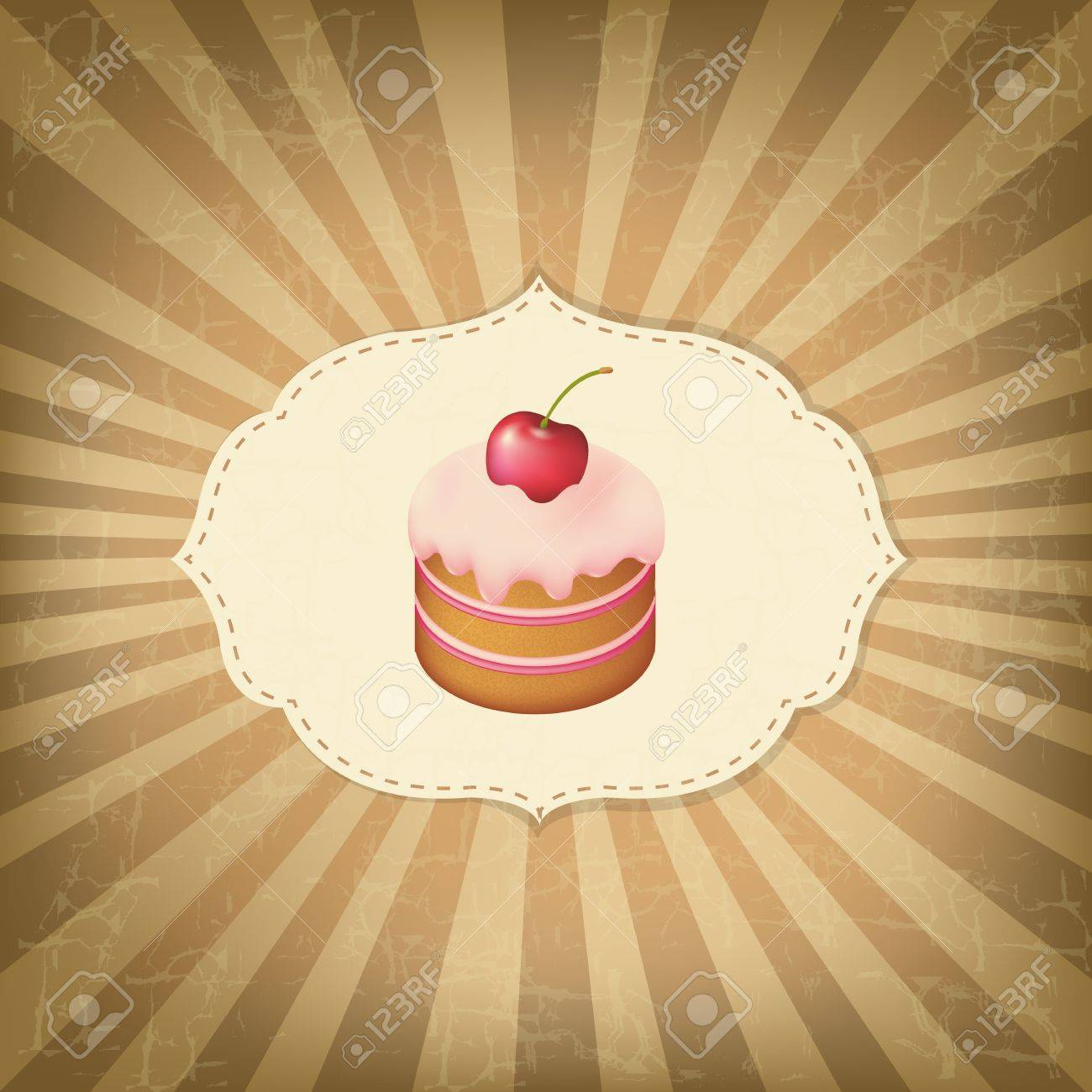 Vintage Old Label With Cupcake Stock Vector - 13639090