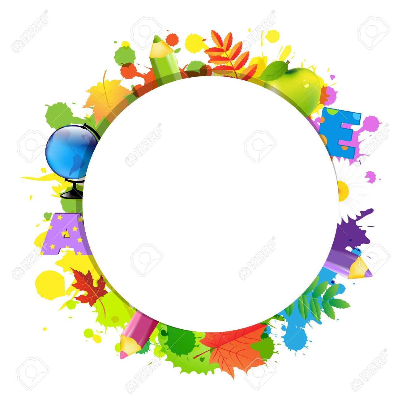 Back To School With Circle, Isolated On White Background Stock Vector - 15486601