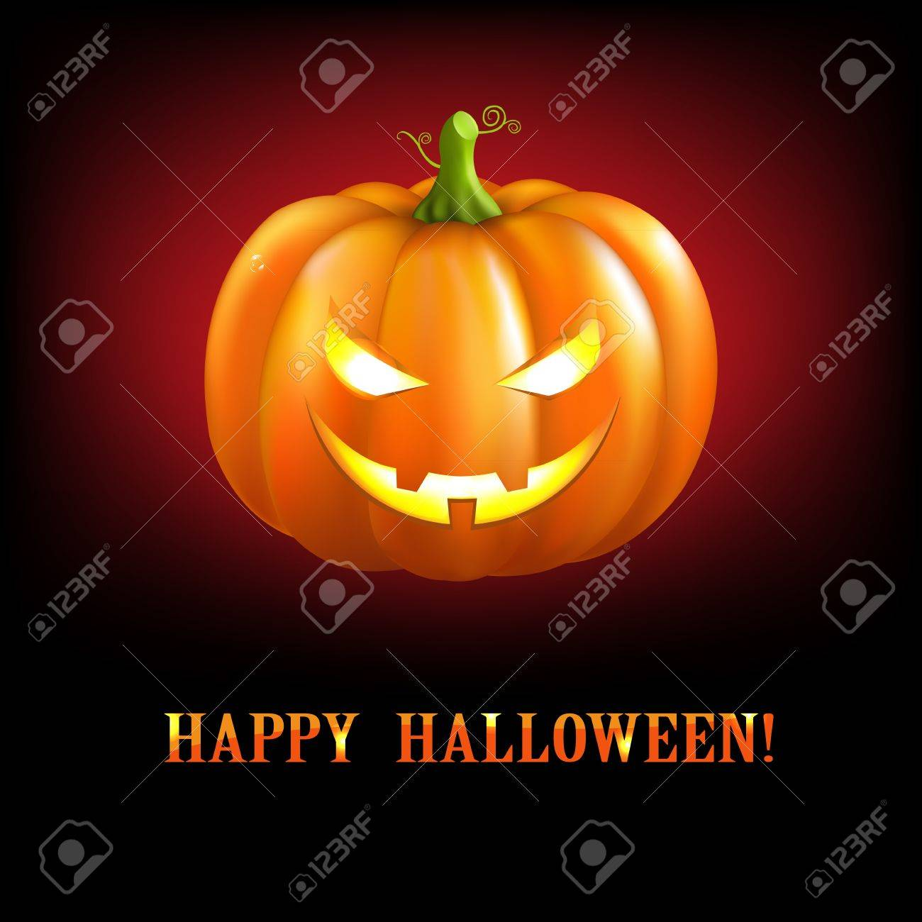 Black Halloween Illustrations With Pumpkins, Illustration Stock Vector - 15544904