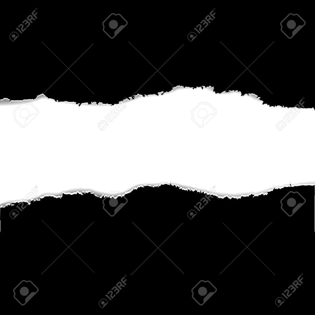 2 Black Torn Paper Borders, Illustration Stock Vector - 15759810